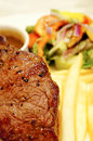 Sirloin beef steak with chips Stock Photo