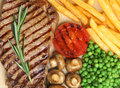Sirloin beef steak dinner with fries meal Stock Photography