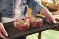 Sirloin raw steaks ready for the grill Royalty Free Stock Photography