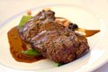Sirloin strip Steak with green Beans ,vegetables a Royalty Free Stock Photo
