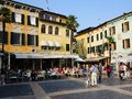 Sirmione cafes italy in town square at a world heritage site on lake garda lombardy northern Royalty Free Stock Image