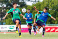 Sisaket thailand august players of bec tero sasana fc in action during a training ahead thai premier league between and Royalty Free Stock Image