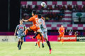 Sisaket thailand june eakkapan nuikhao of sisaket fc orange in action during thai premier league between and bangkok Royalty Free Stock Photography