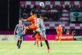 Sisaket thailand june eakkapan nuikhao of sisaket fc orange in action during thai premier league between and bangkok Royalty Free Stock Photography