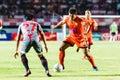 Sisaket thailand june eakkapan nuikhao of sisaket fc orange in action during thai premier league between and bangkok Royalty Free Stock Images