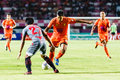 Sisaket thailand june eakkapan nuikhao of sisaket fc orange in action during thai premier league between and bangkok Stock Photography