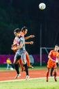 Sisaket thailand june jirawat daokhao of sisaket fc orange in action during thai premier league between and bangkok utd Royalty Free Stock Photos