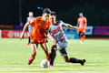 Sisaket thailand june sarayuth chaikamdee of sisaket fc orange in action during thai premier league between and bangkok Royalty Free Stock Image