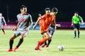 Sisaket thailand june sarayuth chaikamdee of sisaket fc orange in action during thai premier league between and bangkok Stock Photos