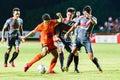 Sisaket thailand june sarayuth chaikamdee of sisaket fc orange in action during thai premier league between and bangkok Stock Photography