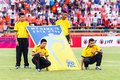 Sisaket thailand june unidentified people with fifa fair pla play flag before thai premier league match between fc and bangkok Stock Images