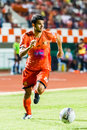 Sisaket thailand june victor amaro of sisaket fc orange in action during thai premier league between and bangkok utd at Stock Image