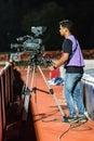 Sisaket thailand october cameraman during thai premier league match between fc and army utd at sri nakhon lamduan stadium Royalty Free Stock Photo