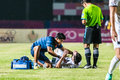 Sisaket thailand october first aid team of buriram utd blue in action during thai premier league between fc and Stock Image