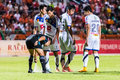 Sisaket thailand october the referee use the vanishing spray during thai premier league between fc and air force central Royalty Free Stock Image