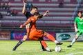 Sisaket thailand september david bala of sisaket fc in action during friendly match between and roi et utd at sri Stock Image