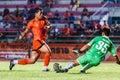 Sisaket thailand september david bala of sisaket fc in action during friendly match between and roi et utd at sri Royalty Free Stock Image