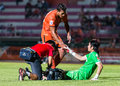 Sisaket thailand september david bala of sisaket fc orange in action during friendly match between and roi et utd at Royalty Free Stock Image