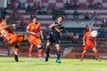 Sisaket thailand september david bala of sisaket fc shooting ball during friendly match between and roi et utd at sri Stock Photography