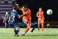 Sisaket thailand september david bala of sisaket fc shooting ball during friendly match between and roi et utd at sri Stock Image