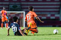 Sisaket thailand september eakkapan nuikhao of sisaket fc orange in action during friendly match between and roi et utd Royalty Free Stock Image
