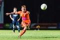 Sisaket thailand september ekkapan jandakorn of sisaket fc shooting ball during friendly match between and roi et utd Stock Image