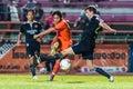 Sisaket thailand september piyawat thongman of sisaket fc shooting ball during friendly match between and roi et utd at Stock Photography