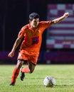 Sisaket thailand september tadpong lar tham of sisaket fc in action during friendly match between and roi et utd at sri Royalty Free Stock Image