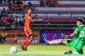 Sisaket thailand september tadpong lar tham of sisaket fc shooting ball during friendly match between and roi et utd at Stock Photos