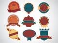 Sistema de insignias retras en blanco del vintage y de labels eps Imágenes de archivo libres de regalías
