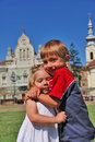 Sister and brother hugging Stock Photo