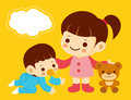 Sister to play with a newborn. Home and Family Character Design Stock Image
