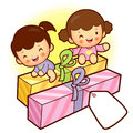 Sisters Delight in being a big gift. Home and Family Character D Stock Photo