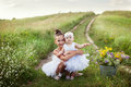 Sisters involved in the field of ballet girl teaches her sister to Stock Image