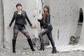 Sisters sexily in black clothes Royalty Free Stock Photography