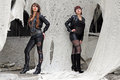 Sisters sexily in black clothes Stock Images