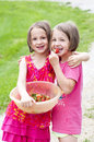 Sisters sharing strawberries one girl holds a bowl of and has her arm around her sister she is smiling the other girl is biting a Stock Image