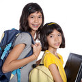 Sisters wit folders, files and bags Royalty Free Stock Images