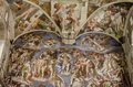 Sistine chapel in vatican detail of the the last judgement fresco at it was painted by michelangelo between and Royalty Free Stock Image