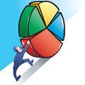 Sisyphean pie chart vector illustration of a businessman pushing upward a giant Stock Image