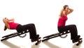 Sit ups exercise studio shot over white Royalty Free Stock Photo