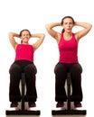 Sit ups exercise studio shot over white Stock Images