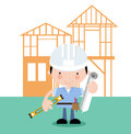 On site-surveyor,inspector,builder,architect Stock Photo