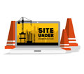 Site under construction scene with cranes Royalty Free Stock Photo