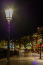 Sitges, Spain - June 10: Illuminated street and buildings on Jun Royalty Free Stock Photo