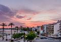 Sitges, Spain - June 10: View with Spain beach, buildings and pr Royalty Free Stock Photo
