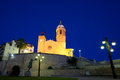 Sitges th century seaside church of sant bartomeu i santa tecla Stock Photography