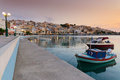 Sitia port view of during sunrise Royalty Free Stock Photo