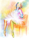 Sitting ballerina colorful watercolor painting Stock Photos
