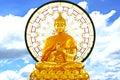 Sitting big buddha stock image golden with blue sky background Stock Photos